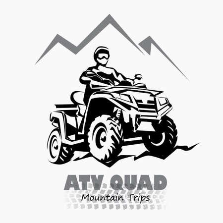 montagna: atv, quad simbolo stilizzato silhouette, elemento di design per emblema