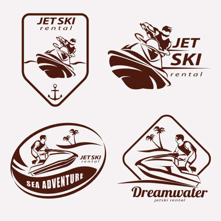 jet ski set of stylized vector symbols, emblem and label template