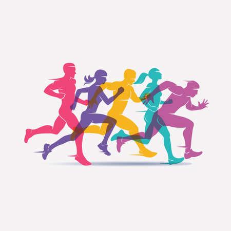 uruchomiony zestaw sylwetki ludzi, sport i aktywność tle