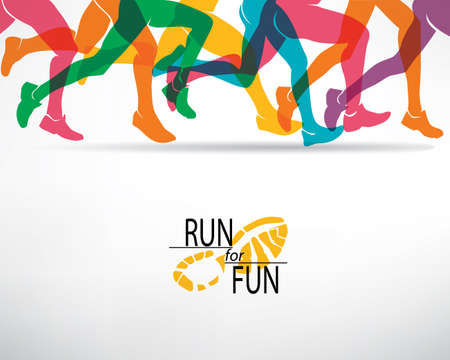runner: running people set of silhouettes, sport and activity  background