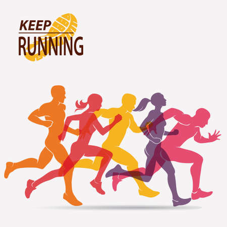 running people set of silhouettes, sport and activity  background Banco de Imagens - 67753325