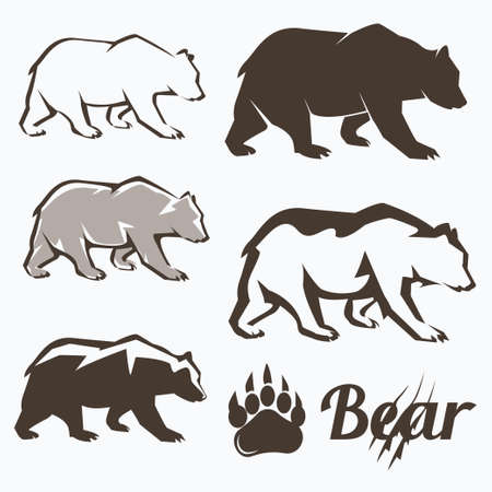set of walking bear silhouettes in different style, collection of elements for design