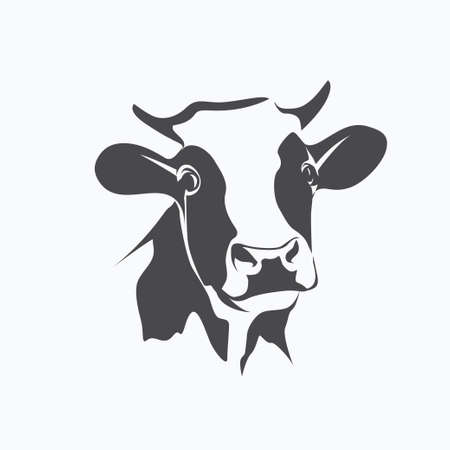 holstein cow portrait stylized vector symbol Çizim