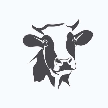 ritratto mucca Holstein simbolo stilizzato vettore