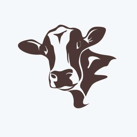 holstein cow portrait stylized vector symbol  イラスト・ベクター素材