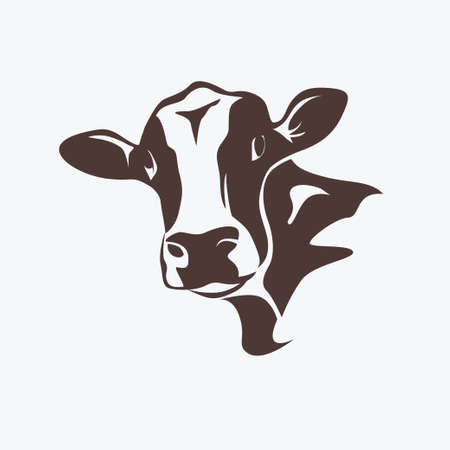 holstein cow: holstein cow portrait stylized vector symbol Illustration