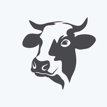 holstein: holstein cow portrait stylized vector symbol Illustration