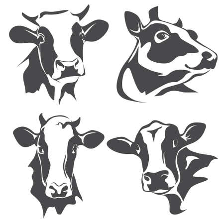 holstein cow: cow head portrait, set of stylized vector symbols