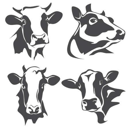 Testa ritratto di mucca, un insieme di simboli stilizzati vettore Vettoriali