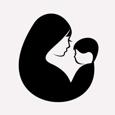 moslim moeder en baby gestileerd vectorsymbool