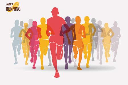 실행중인 사람들 실루엣, 스포츠 및 활동 배경, 경쟁 개념 집합