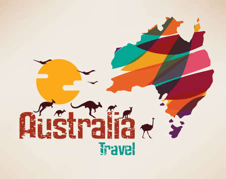 Australia travel map, decrative symbol of Australia continent with jumping kangaroos silhouettes
