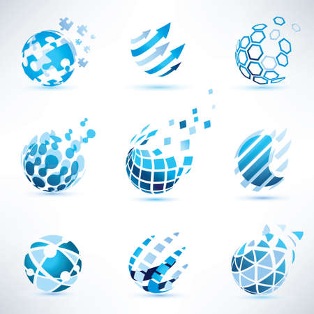 internet globe: abstract globe and puzzle symbol set,communication and technology icons, internet and social network concept