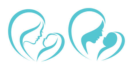 mother and baby vector symbol