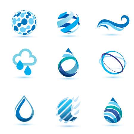 conjunto de símbolos abstractos azules, gotas de agua y plantilla de logotipo de la ola