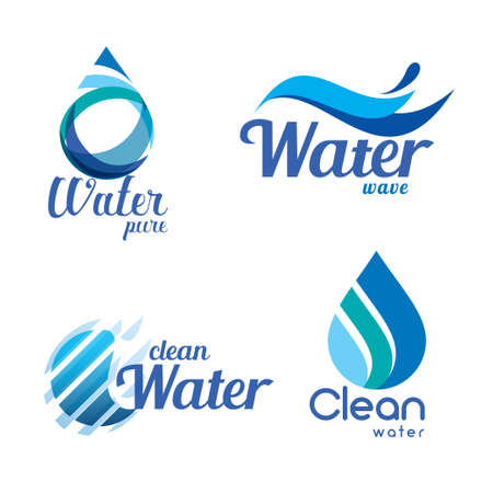 set of abstract blue symbols, water drops and wave logo template