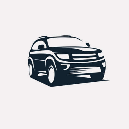 modern suv template, offroader car stylized vector silhouette