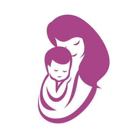 mother and baby stylized vector symbol, mom huges her child logo template