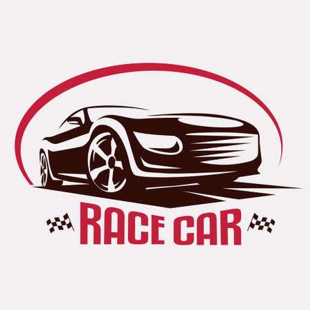 speed car: Race car symbol logo template, stylized vector silhouette