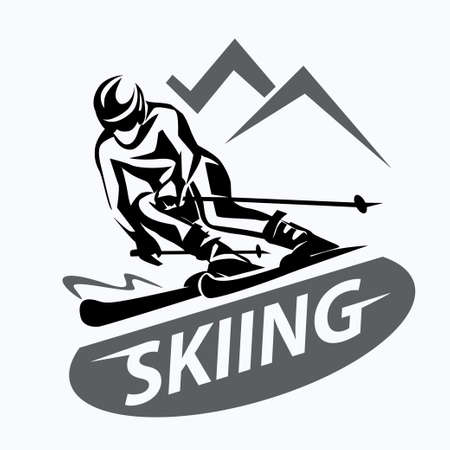 skiing stylized vector symbol, logo or emblem template Stock Illustratie