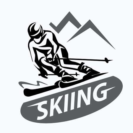 skiing stylized vector symbol, logo or emblem template Illustration