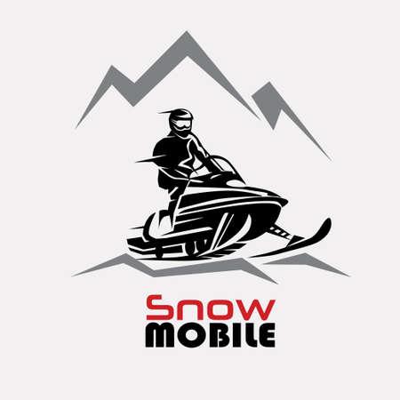 スノーモービルのロゴのテンプレート、様式化されたベクトル記号