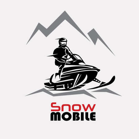 snowmobile logo template, stylized vector symbol
