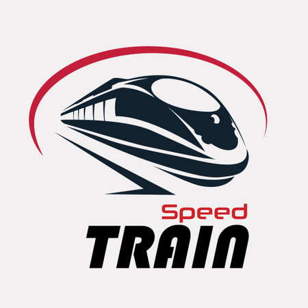 speed train logo template, stylized vector symbol Çizim