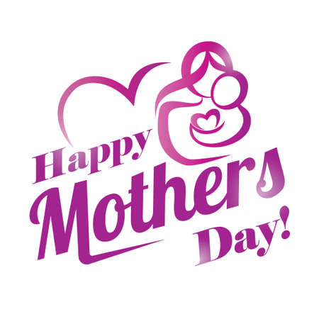 text pink: happy mothers day greeting card template, stylized symbol of mom and baby Illustration