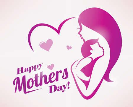 해피 어머니의 날 인사말 카드 서식 파일, 엄마와 아기의 양식에 일치시키는 상징 일러스트