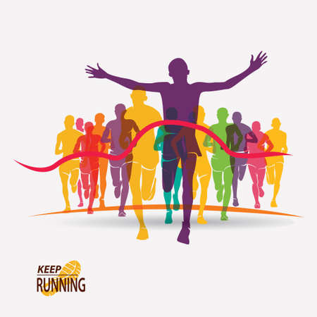 running people set of silhouettes, competition and finish Banco de Imagens - 70453975