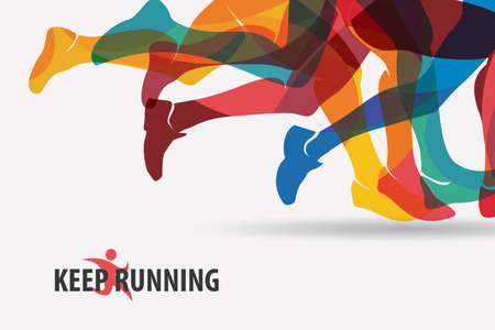 poster: running people set of silhouettes, sport and activity  background