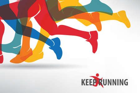 Courir les gens ensemble de silhouettes, le sport et l'activité de fond Banque d'images - 70453999