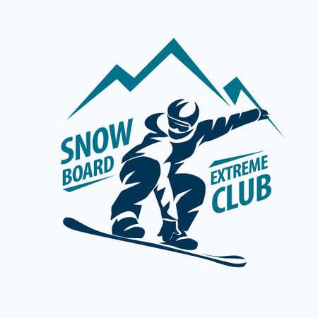 snowboarding stylizowane symbol, wektor sylwetka, logo lub emblemat szablon Logo