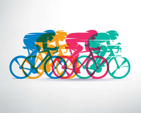 cycling race stylized background, cyclist vector silhouettes
