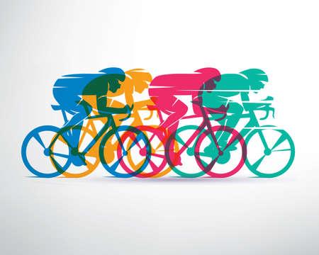 carrera de ciclismo de fondo estilizado, vector siluetas ciclista