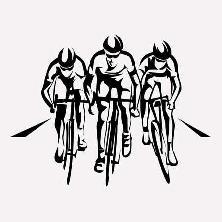 Gara ciclistica simbolo stilizzato, ciclista delineato vettore sagome Archivio Fotografico - 70454007