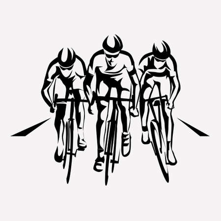 cycling race stylized symbol, outlined cyclist vector silhouettes