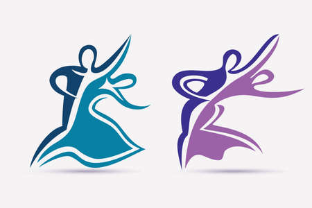 ballroom couple dance symbols collection, stylized vector icons set Illustration