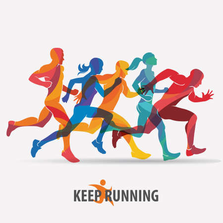 running people set of silhouettes, sport and activity  background Фото со стока - 70425640