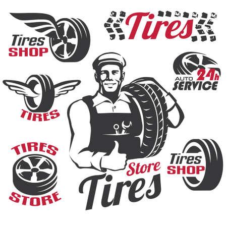 タイヤ ショップやサービスのレトロなエンブレムとラベル コレクション