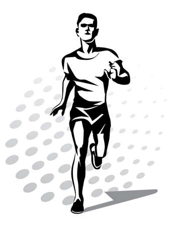 symbol sport: running man vector symbol, outlined stylized silhouette, sport and activity concept Illustration