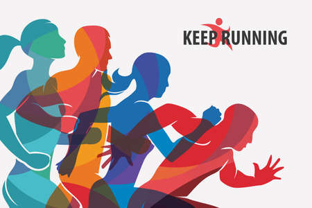 healthy woman: running people set of silhouettes, sport and activity  background