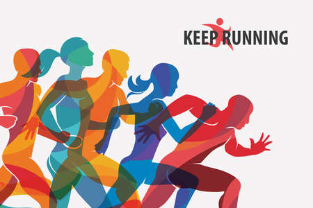 running people set of silhouettes, sport and activity  background Banco de Imagens - 74576158
