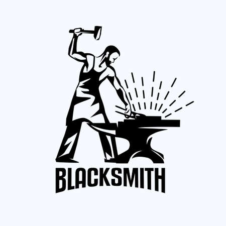 Blacksmith isolated vector symbol, stylized retro emblem template.