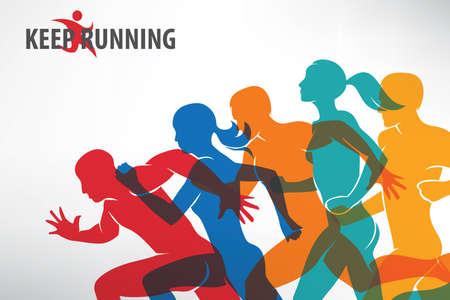 personas corriendo: Corriendo a la gente conjunto de siluetas, el deporte y la actividad de fondo. Vectores