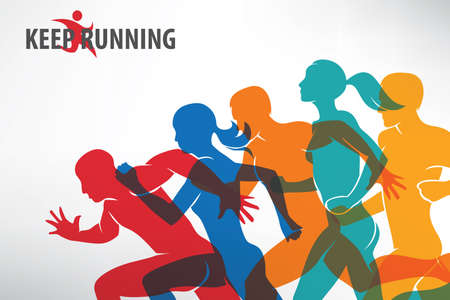 Running mensen set van silhouetten, sport en activiteiten achtergrond.