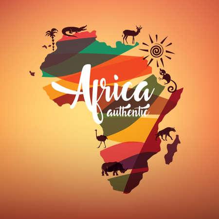 アフリカ旅行地図、野生動物のシルエットとアフリカ大陸の decrative の記号  イラスト・ベクター素材