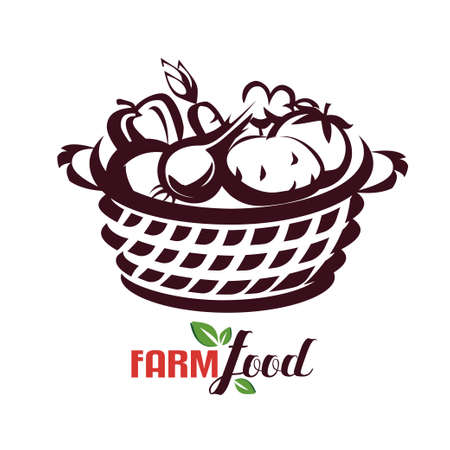 the backet of vegetables, farm food stylized vector sketch