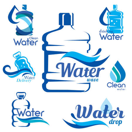 drinking clean water delivery set of emblems and labels